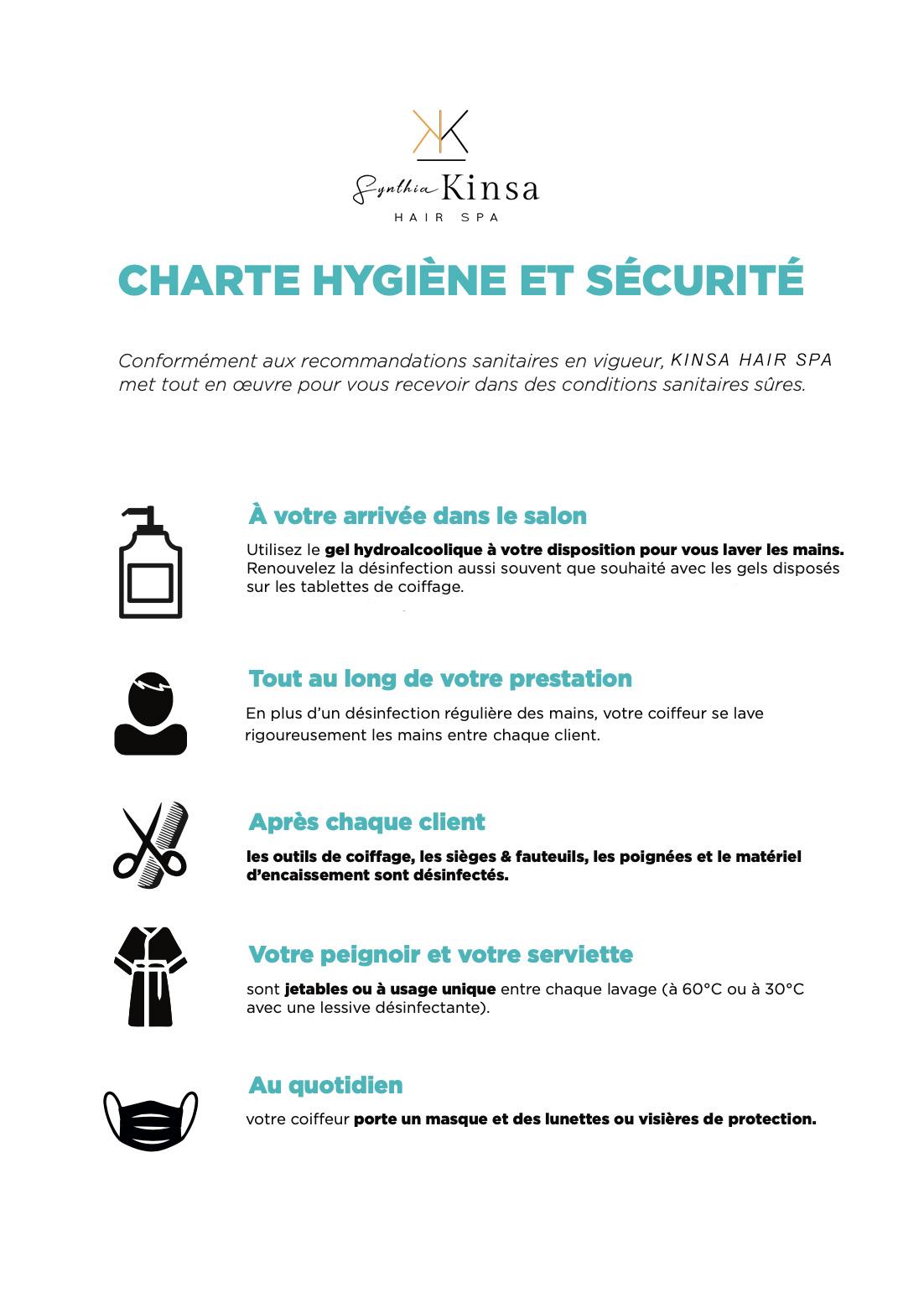 Charte hygiène et sécurité COVID 19 - Synthia Kinsa Hair Spa